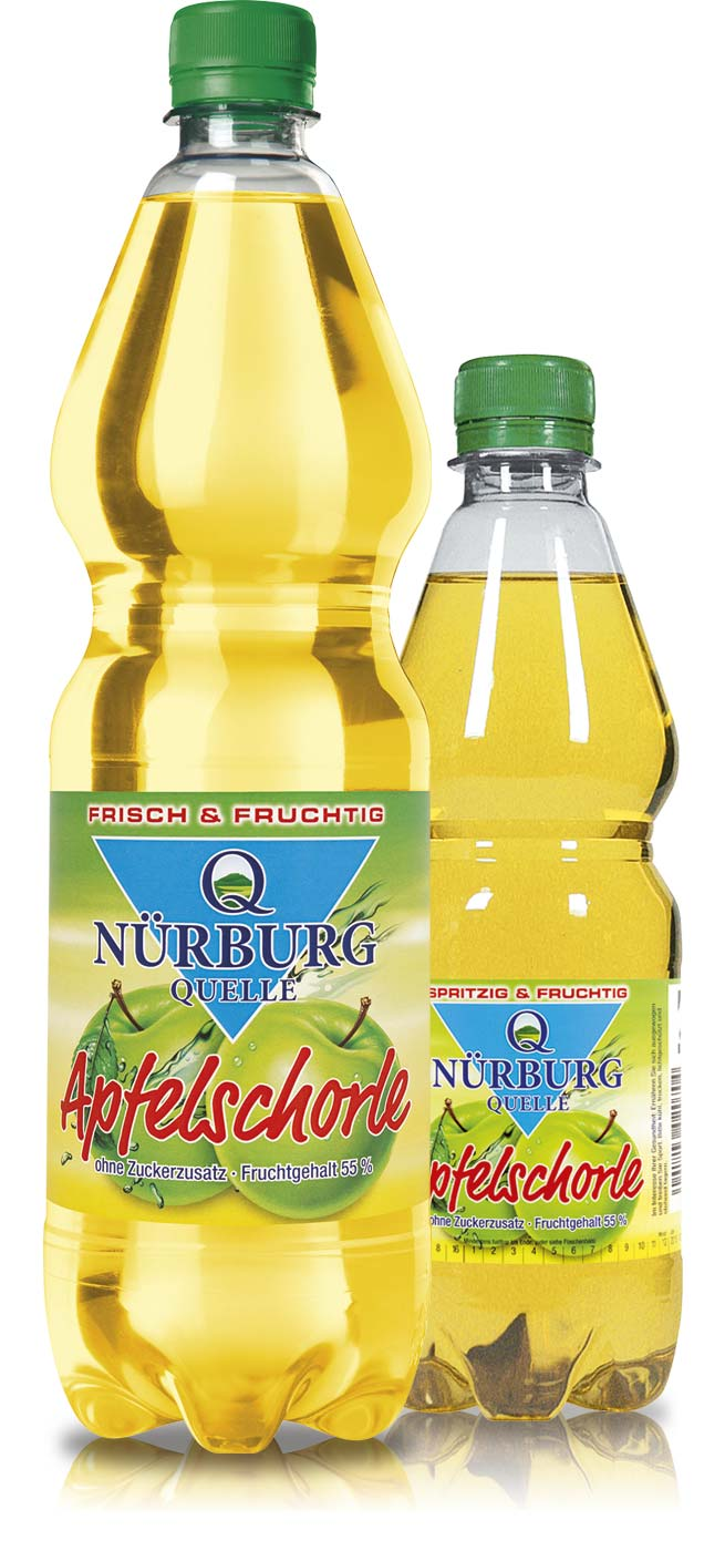 Nürburg Quelle Apfelschorle - voller Geschmack bei 0,0 Gramm Zuckerzusatz
