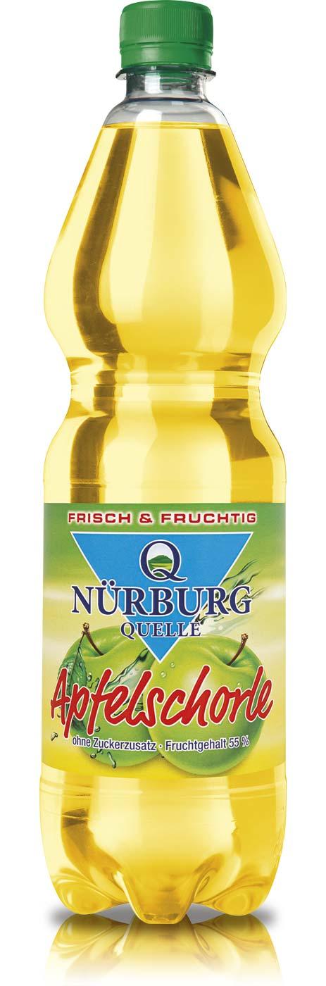 Nürburg Quelle Apfelschorle in der 1 Liter PET-Flasche